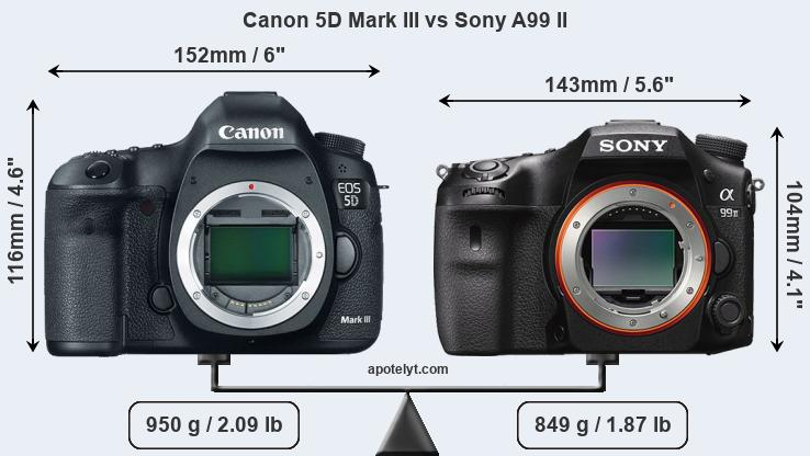 Size Canon 5D Mark III vs Sony A99 II