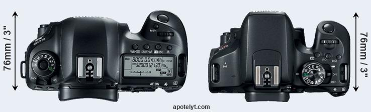 5D Mark IV versus 800D top view