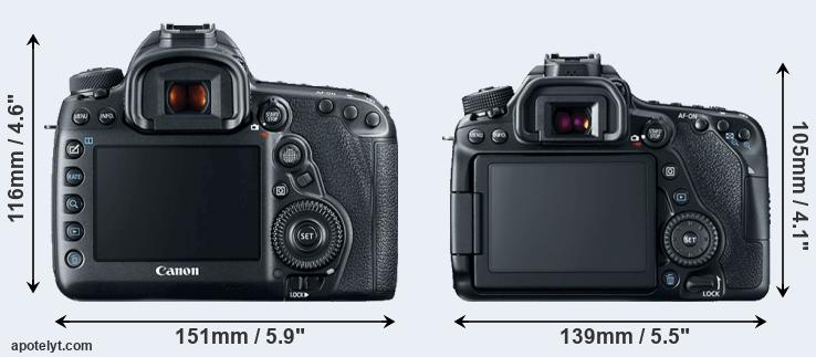 5D Mark IV and 80D rear side