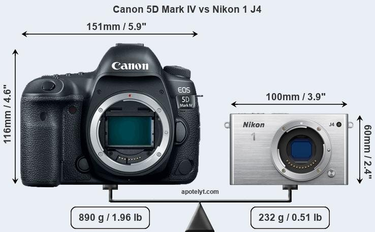 Size Canon 5D Mark IV vs Nikon 1 J4