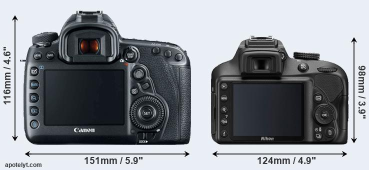 5D Mark IV and D3400 rear side
