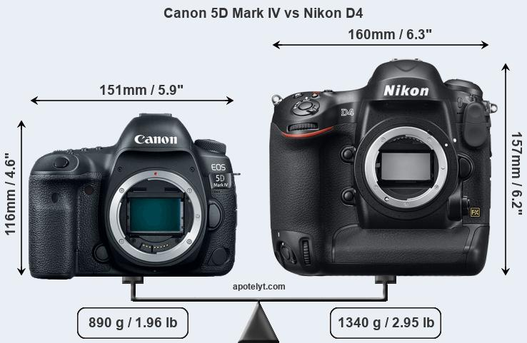 Size Canon 5D Mark IV vs Nikon D4