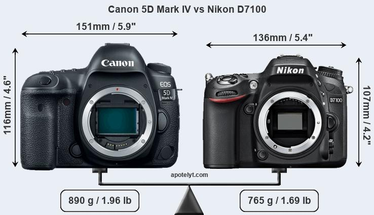 Size Canon 5D Mark IV vs Nikon D7100