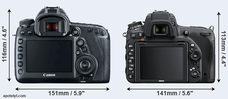 5D Mark IV and D750 rear side