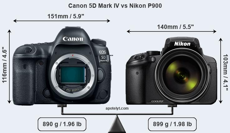 Size Canon 5D Mark IV vs Nikon P900