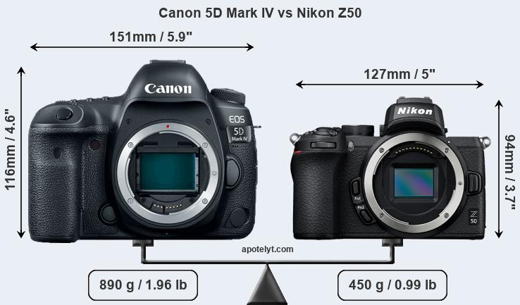 Size Canon 5D Mark IV vs Nikon Z50