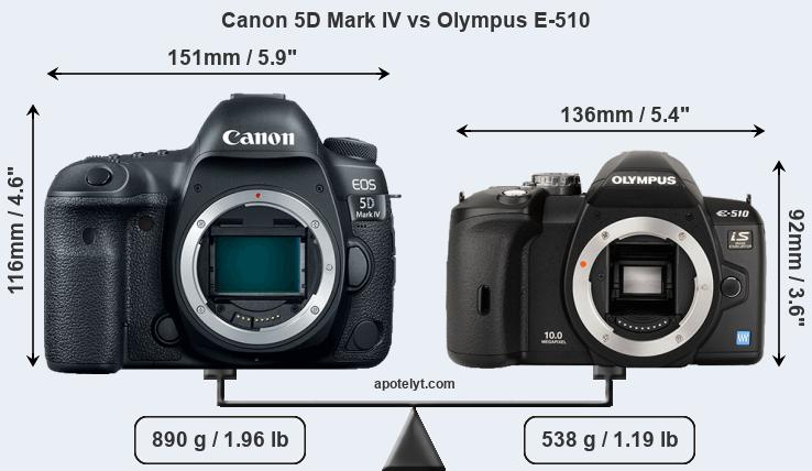 Size Canon 5D Mark IV vs Olympus E-510
