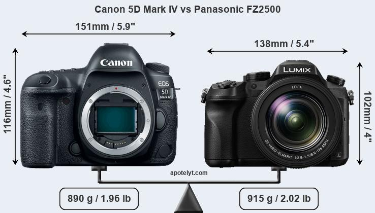 Size Canon 5D Mark IV vs Panasonic FZ2500