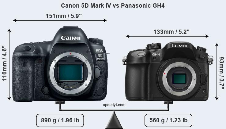 Size Canon 5D Mark IV vs Panasonic GH4