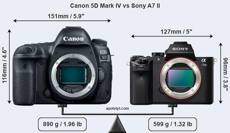 Size Canon 5D Mark IV vs Sony A7 II