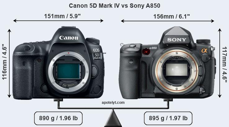 Size Canon 5D Mark IV vs Sony A850