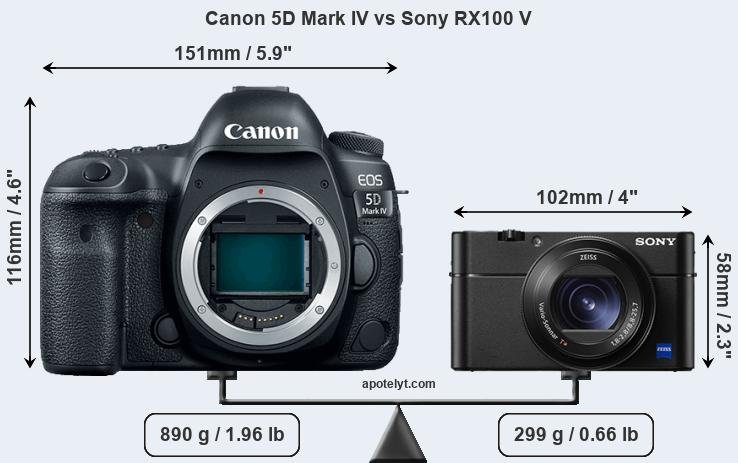 Size Canon 5D Mark IV vs Sony RX100 V