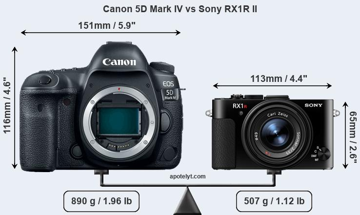 Size Canon 5D Mark IV vs Sony RX1R II