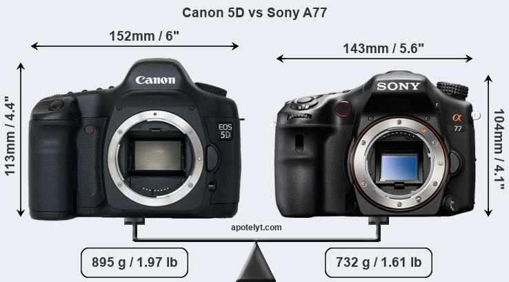 Size Canon 5D vs Sony A77