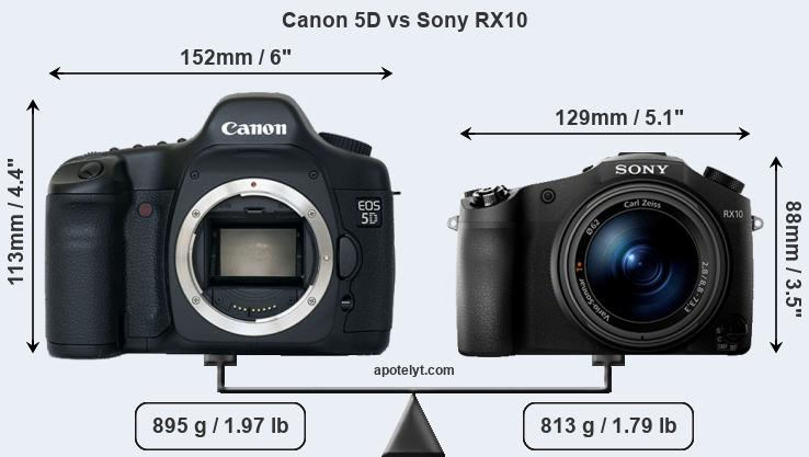 Size Canon 5D vs Sony RX10