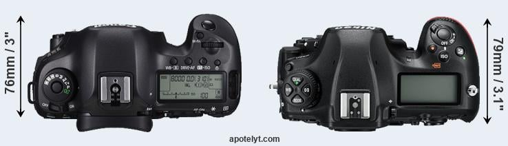 5DS R versus D850 top view