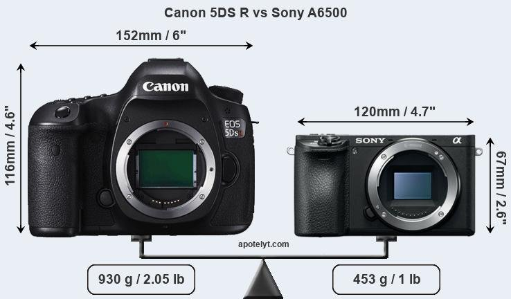 Size Canon 5DS R vs Sony A6500