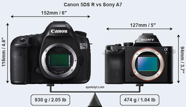 Size Canon 5DS R vs Sony A7