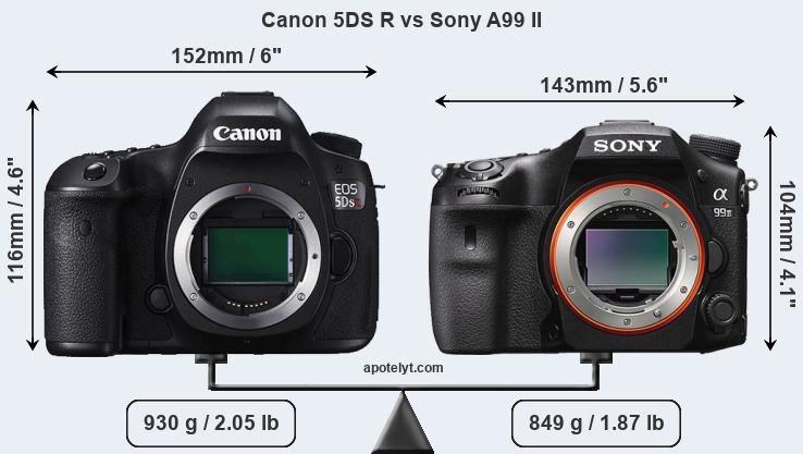 Size Canon 5DS R vs Sony A99 II