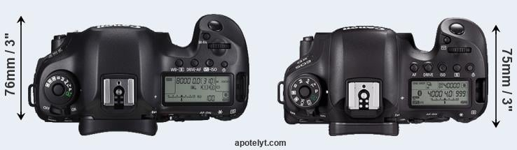 5DS versus 6D Mark II top view
