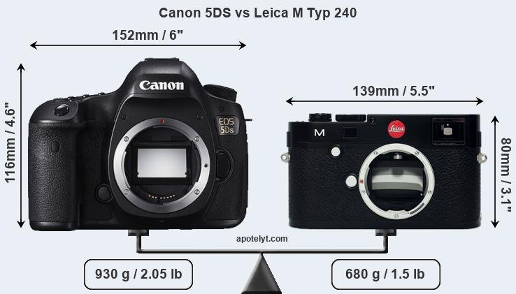Size Canon 5DS vs Leica M Typ 240