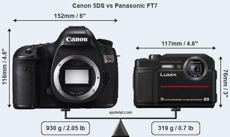 Size Canon 5DS vs Panasonic FT7