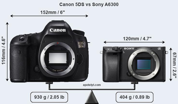 Size Canon 5DS vs Sony A6300