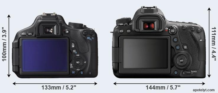 600D and 6D Mark II rear side