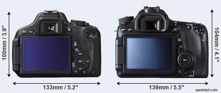 600D and 70D rear side