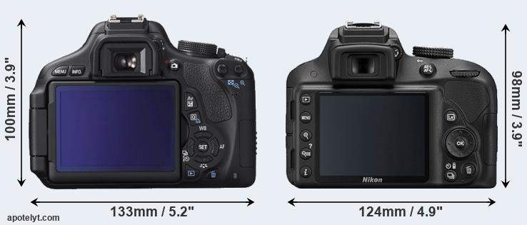 600D and D3300 rear side