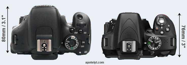600D versus D3300 top view