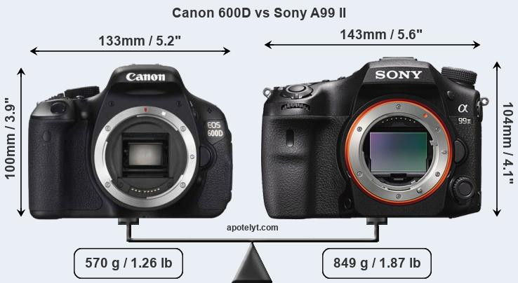 Size Canon 600D vs Sony A99 II