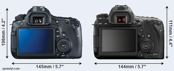 60D and 6D Mark II rear side