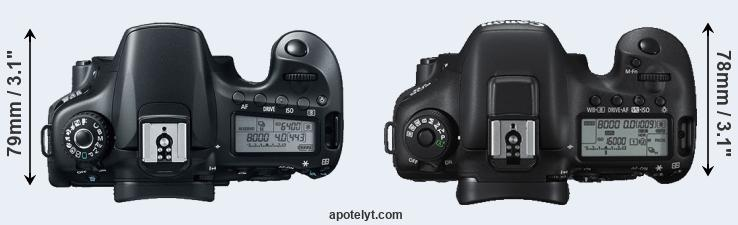 60D versus 7D Mark II top view