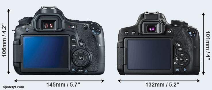 60D and T6i rear side