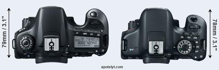 60D versus T6i top view