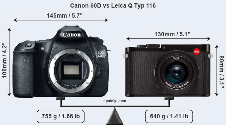 Size Canon 60D vs Leica Q Typ 116