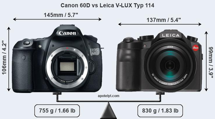 Size Canon 60D vs Leica V-LUX Typ 114