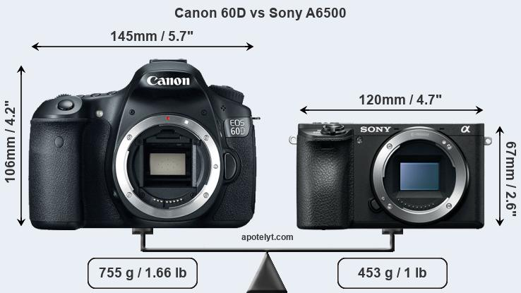 Size Canon 60D vs Sony A6500