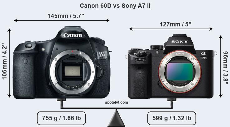 Size Canon 60D vs Sony A7 II