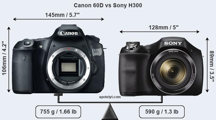 Size Canon 60D vs Sony H300