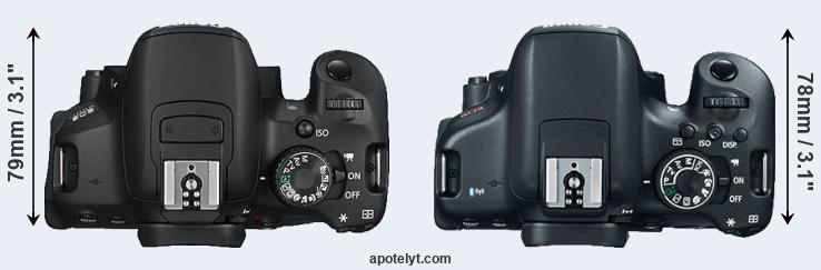 650D versus 750D top view