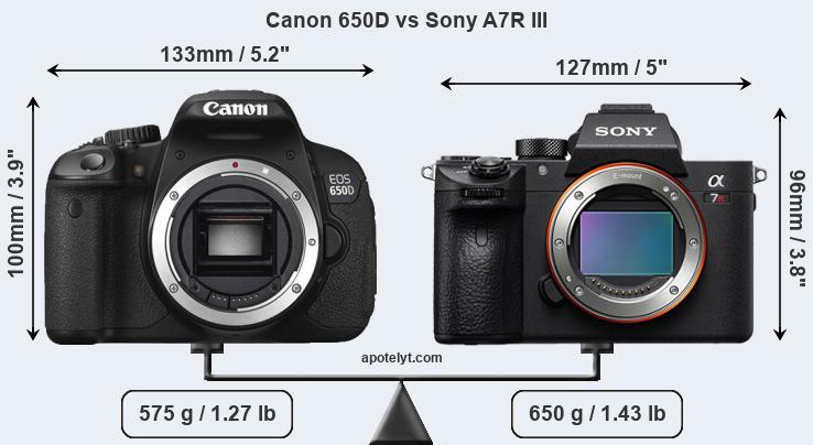 Size Canon 650D vs Sony A7R III