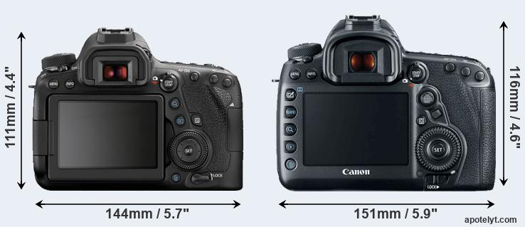 6D Mark II and 5D Mark IV rear side