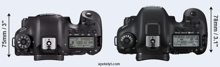 6D Mark II versus 7D Mark II top view