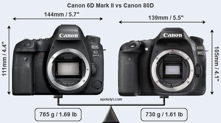 Canon 6D Mark II and Canon 80D sensor measures