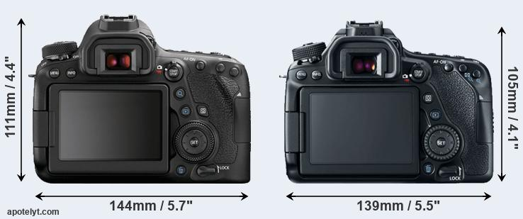 6D Mark II and 80D rear side