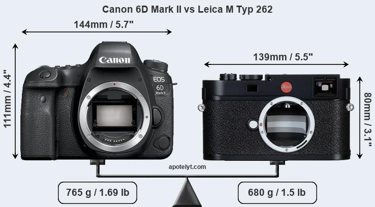 Size Canon 6D Mark II vs Leica M Typ 262