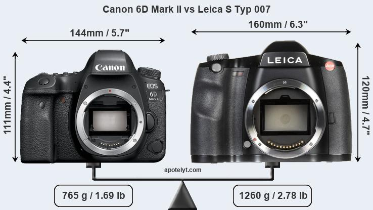 Size Canon 6D Mark II vs Leica S Typ 007