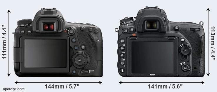 6D Mark II and D750 rear side